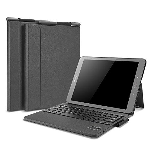 OMOTON Samsung Galaxy Tab S3 Funda con Teclado en Español Bluetooth Removable, Compacta Funda de Cuero, Teclado con Funda y Soporte para Galaxy Tab S3.