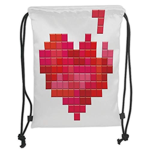 ZKHTO Drawstring Sack Backpacks Bags,Valentines Day,Video Game Tetris Red Heart Vintage Pixelated Design Joyful Romantic,Red Pink Scarlet Soft Satin,5 Liter Capacity,Adjustable String Closure