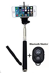 BMS Black Selfie Monopod Stick with Bluetooth Wireless Remote Shutter for iPhone, Samsung, HTC, etc Smartphones (Android and IOS Systems)