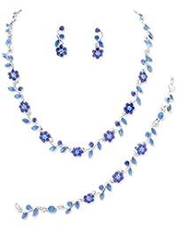 Schmuckanthony Best Seller Hochzeit Brautschmuck Schmuckset Kette Armband Ohrringe Kristall Blumen Königsblau Blau