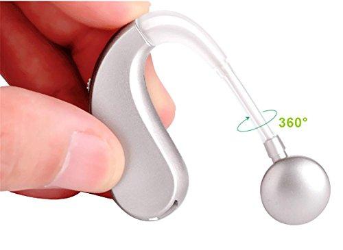 Hearing d&f amplificatore digitale per apparecchi acustici anziani wireless invisibile ricaricabile, ha-202, medico e audiologo progettato, silver