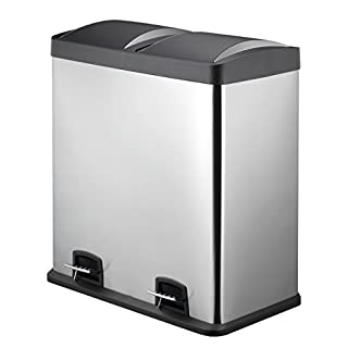 Dual Recycling Bin 60L By HARIMA | Fingerprint Proof Stainless Steel Bin | Stainless Steel Pedal Bin | Premium Plastic Lids | 2 x 30 Litre Removable Compartments to Separate Waste and Easy Recycling