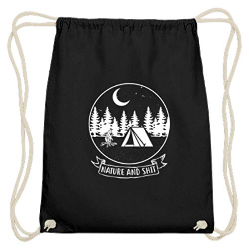 EBENBLATT Nature and Shit Natur Camping Camper Geschenk - Baumwoll Gymsac -37cm-46cm-Schwarz (Lagerfeuer Kostüm)