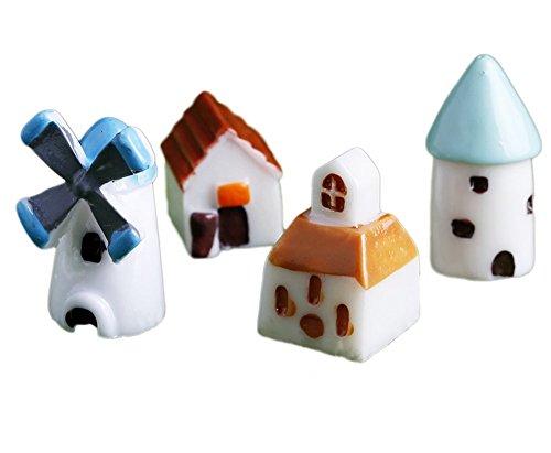 LAMEIDA 8PCS DIY Garten Miniatur Ornament Windmühle Haus Kirche 2-stöckige Kabine Mini Castle Vielzahl von Stilen Random Micro Landschaft Harz Zubehör Micro Dekoration