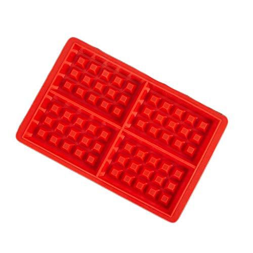 Kaiyu Backblech Silikon Waffel Backform Mini quadratische Waffel Form Muffin Form rot (Color : Square) Square-quiche