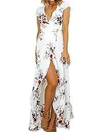 Mujer Verano Vestido de Playa Maxi Irregular Flores Partido Del