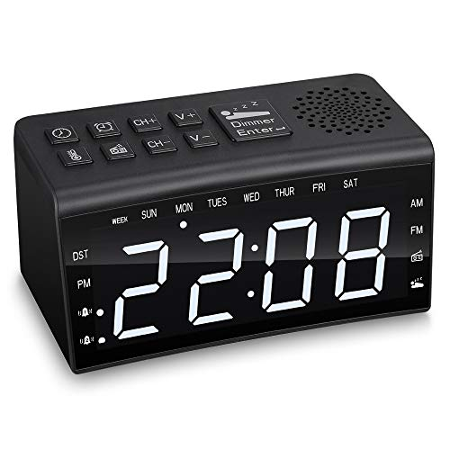 ZEEPIN Radio Reloj Despertador con 2 Relojes despertadores, Radio Am FM con lámpara de LED Ajustable Luces para despertarse, Regulables y Despertador