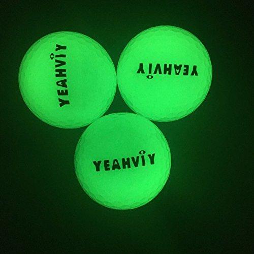 (3 Pack)Yeahviy Night Golfbälle,Night Glow Golf Ball Professional Praxis Golfbälle für Neuheit Kinder Geschenk,Ultra Bright Long Lasting Reusable Bright (3 Pack)
