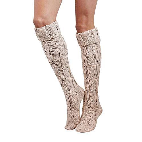 Zero Boys Jacke (BHYDRY Damen Herbst und Winter warme Lichtfarbe Bandagen über die Knie in den Schlauchstrümpfen(55-65cm,Beige))