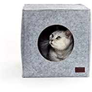 PiuPet® Premium Cat Bed incl. Cushion | Suitable for e.g. IKEA® Kallax & Expedit Shelves | Cats beds in grey | Cozy cat house | Cat basket