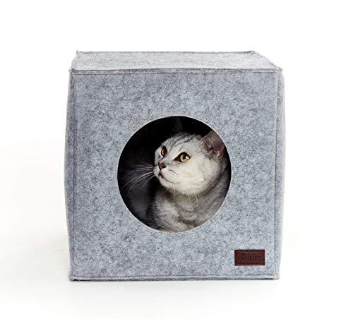 PiuPet® Cama de Gato Incl. cojín | Casa de Gato Adecuada para IKEA® Kallax & Expedit | Cueva Comoda en Gris óptica de Fieltro | Diseño Elegante y Moderno |