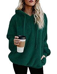 fc83aebd5ae3 Leslady Damen Hoodie Warm Flauschig Kapuzenpullover Hooded Fleece Fuzzy Zip  Up Hoodie Pullover