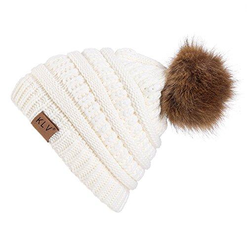 YWLINK Winter Warm StrickmüTze MäNner Frauen Baggy Crochet Winter Wolle Stricken Ski Beanie SchäDel Slouchy Caps Hut mit Fellbommel(Einheitsgröße,Weiß)
