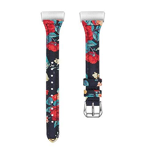GreatFunMänner 'S und Frauen' S Lederersatzband Armband Lederband T-förmiges Leder Anti-Sweat Leder (Druck) Armband für Fitbit Charge 3 Uhren Ghost Leder