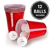 Vivaloo Set Beer-Pong 100 Bicchieri Plastica Rossi + 12 Palline   Kit Pronto per l'Uso Birra Pong   Cocktail, Bevande Feste di Laurea Giochi con Amici   Capienza 473 Ml   Originali College USA   By