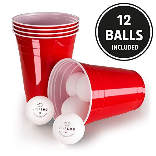 Vivaloo 100 Plastikbecher Bierpongset, 12 Bälle - Trinkbecher Red Cups, Rote Beer Pong Becher 473ml 16oz - Becher