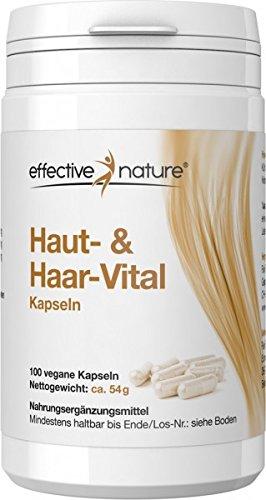 Natur Aus Biotin (effective nature Haut & Haar-Komplex - 100 vegane Kapseln Mit Biotin und Zink - Diese Stoffe tragen zu normaler Haut & Haare bei - 1-Monats Kur)
