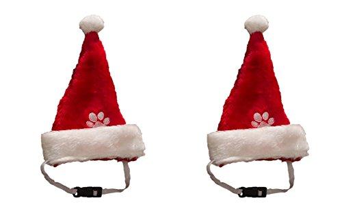 2 er Set Weihnachtsmütze Nikolausmütze für den Hund Katze Mütze Nikolausmütze Tier X55 (Hund Weihnachtsmütze)