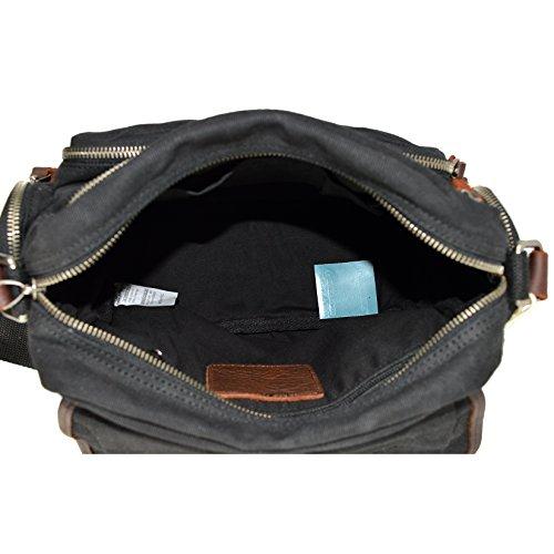 CTM Borsa a spalla in tela da Donna dotata di manici, dettagli in vera pelle 32x24x11 cm Nero