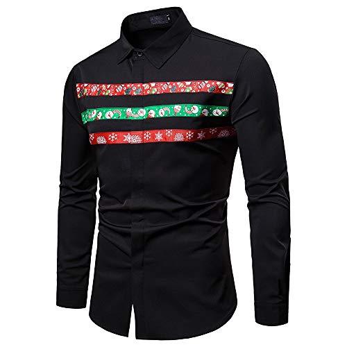 Preisvergleich Produktbild ZIYOU Herren Hemd mit Weihnachten Gedruckt,  Männer Freizeit Poloshirt Xmas Button-Down Langarm T-Shirts Business Polo Kragen Regulare Fit Pullover (Schwarz, EU-44 / CN-M)