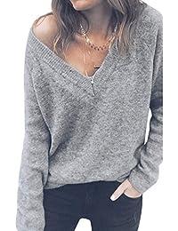 Decha Damen Herbst Winter Pullover V-Ausschnitt Lose Langarm Pulli Sexy Sweater  Gestreift Oberteil Strickpullover 16fcf0887d