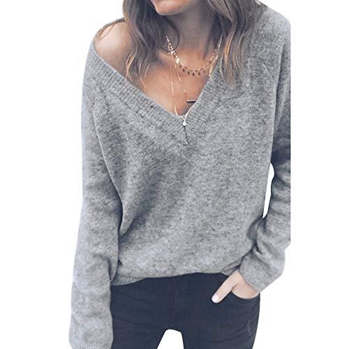 Decha Damen Herbst Winter Pullover V-Ausschnitt Lose Langarm Pulli Sexy Sweater Gestreift Oberteil Strickpullover Schulterfrei Knitwear Sweatshirt Jumper Tops