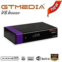 GT MEDIA Receptor de TV Satélite Decodificador V8 Honor DVB-S2 Freesat V8 Nova FTA Libre al Aire Apoyo PowerVu Biss Clave Newca CCCAM Youtube, Receiver HD PVR con WiFi Incorporado