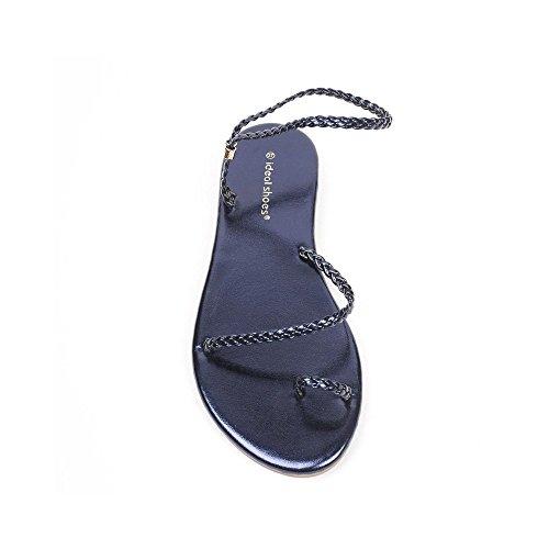 Ideal Shoes Sandales Plates avec Bride Tressée Belmina Marine