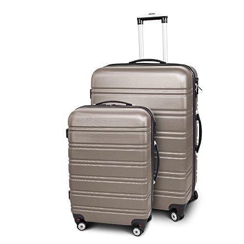 Kofferset L + XL 2-teilig Reisekoffer Trolley Hartschalenkoffer ABS Teleskopgriff Modell 'Line' (Champagne)