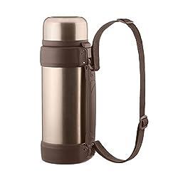 Dimono Vakuum Isolierkanne XXL 2 Liter Thermoskanne doppelwandige Isolierflasche Thermokanne Isokanne Bronze-Metallic