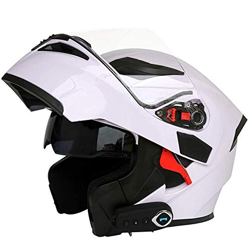 Fire wolf:casco moto Moto casco moto Equitazione equipaggiamento protettivo multifunzione Smart Bluetooth svelamento casco integrale: bianco/L (23.22in-23.62in)