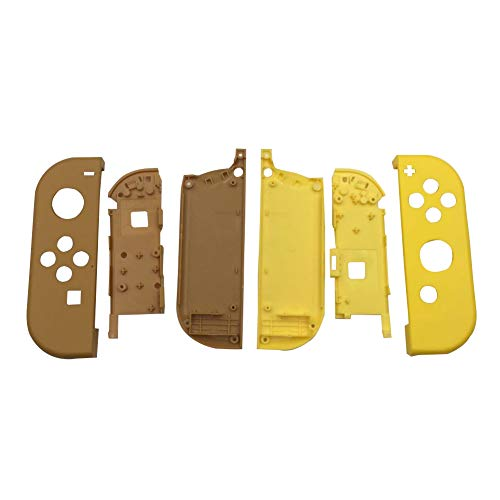 Xingsiyue Ersatz Volles Gehäuse Faceplate Fall Schale Hülle Abdeckung mit Akku Mittelrahmen für Nintendo Switch Joy Con Controller (Links Braun Rechts Gelb) Fall Faceplate