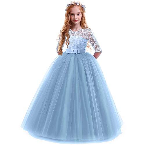 OBEEII Bambina Vestito Principessa in Pizzo Manica Mezza Abbigliamento Bambine Invernale Eleganti Abito Principessa de Festa Cerimonia Sposa Sera per Ragazza 7-8 Anni Blue
