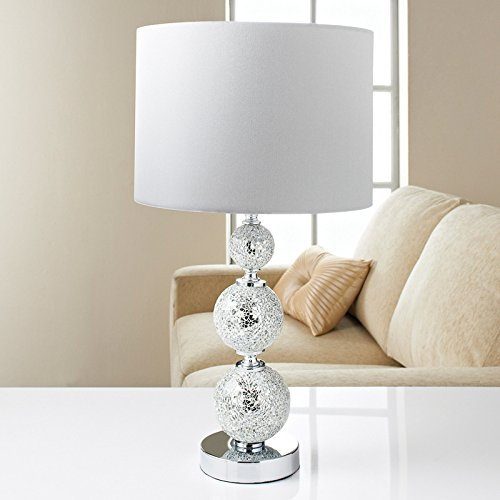 New Home Decor Modern Style Ella Mosaic Mirror Ball Complete Table Lamp - Silver