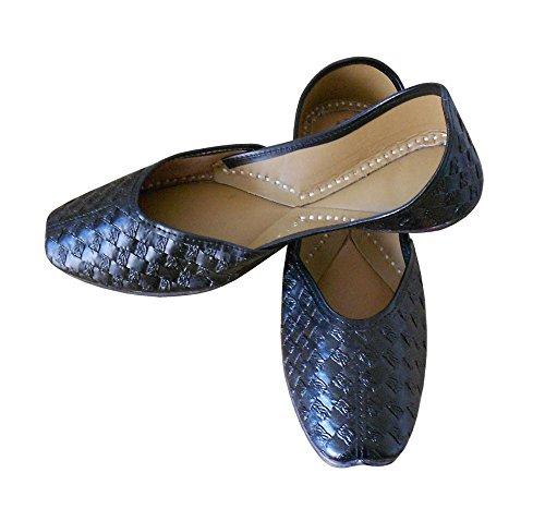 kalra Creations Chaussures de indien traditionnel fait main synthétique étui à rabat pour femme Noir