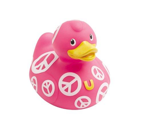 Trendfinding Bud Badeente Badeentchen Quietscheente Quietscheentchen Peace Zeichen Symbol Duck pink weiß Frieden