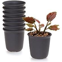 T4U Lungo-Tondo Plastica Vaso di Fiori Pianta Succulente Cactus Vaso di Fiori Contenitore Impianto Vasi Vivaio Marrone Scuro, Confezione da 8