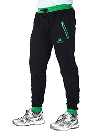 Finger's Men's Cotton Ribbed Track Pants With Zipper Pockets (26, Black-Green)