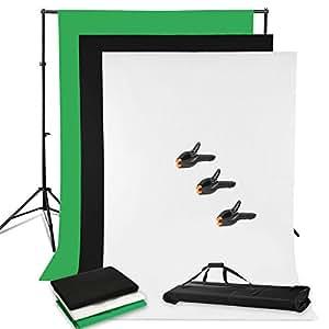 BPS Profi Fotostudio Hintergrund system Komplett set 300cm x 200cm / 10ft x 7ft Fotoständer Kit inkl. Hintergrund stoff weiß schwarz grün + Tasche + Studioklemmen für Portrait, Produkt Fotografie und Video Shooting