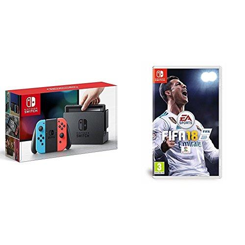 Nintendo Switch - Consola, color azul neón/rojo neón + FIFA 18 - Edición estándar