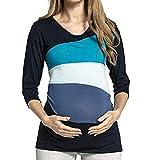 STRIR Lactancia de Maternidad para Mujeres, Camiseta de Mangas Larga Embarazada Cuello Redondo Color Bloque Otoño Ropa Doble Capa Blusa Camiseta para Mamá (XL, Azul)