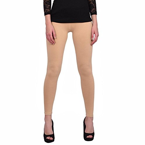 Leggings Jeggings for Women Girls Premium Quality Cotton Polyster Western Wear Stretchable Ankel Length Solids Color Free Size Compatible for Sports-wear, Yoga-wear, Arobics-wear , Party-wear, Casual-wear Orange M  available at amazon for Rs.299