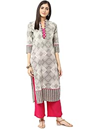 Jaipur Kurti Grey & Rani Pink Embroidered Kurta With Palazzo Trousers