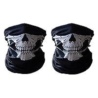 Meta-U 2pcs Stretchable Tubular Skull Face Mask Motorcycle Biker Snowboards