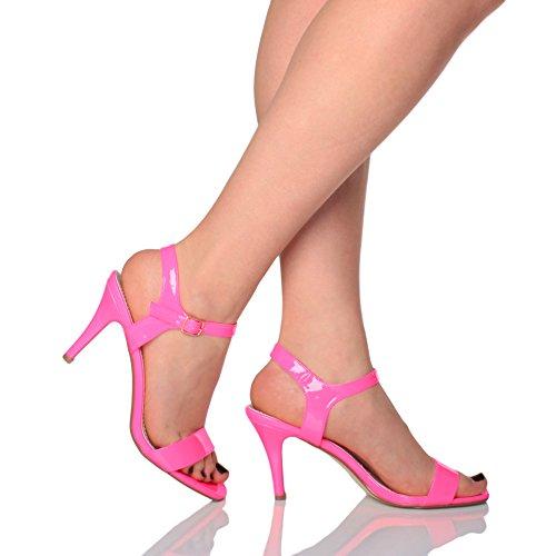 Ajvani Femmes Haute Talon Boucle Fête Élégant à Lanières Sandales Chaussures Pointure Fushia Rose Néon