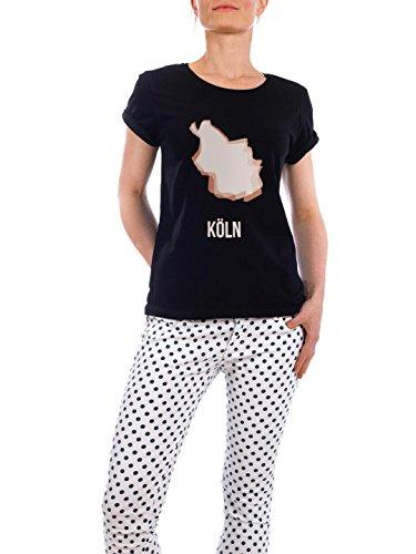"""Design T-Shirt Frauen Earth Positive """"Köln Silhouette 2"""" - stylisches Shirt Städte Städte / Berlin Städte / Köln von artboxONE Edition Schwarz"""