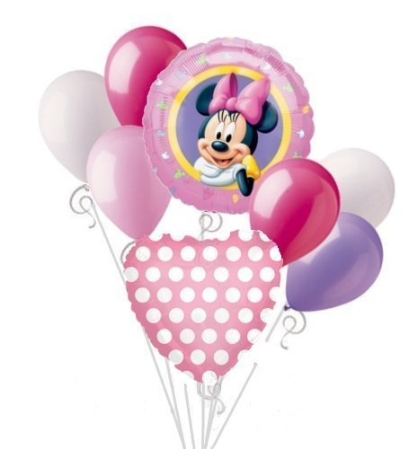 Minnie Mouse Balloon Bouquet Set Birthday Baby Shower Party Decoration 8pcs by DecorationTime