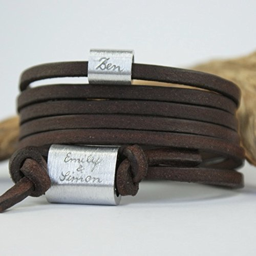 FOREVER Armband mit Gravur, Namensarmband, Wickelarmband, Familienarmband, Dunkelbraun, Aluminium, Männerarmband