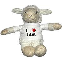 Oveja blanco de peluche con Amo Jam en la camiseta (nombre de pila/apellido