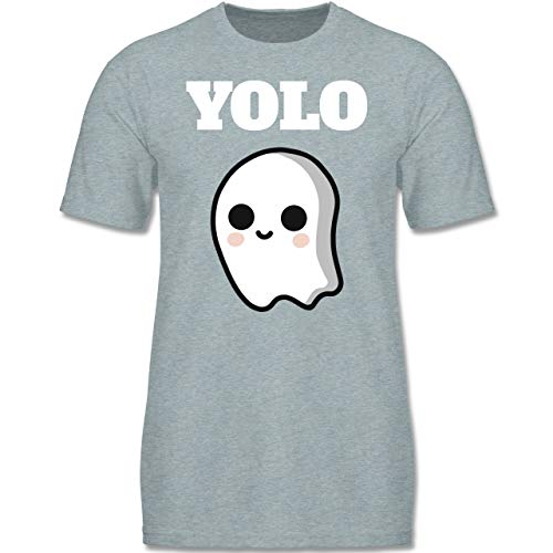 Anlässe Kinder - Geist YOLO Motiv - 134-146 (9-11 Jahre) - Blau/Grau meliert - F140K - Jungen T-Shirt